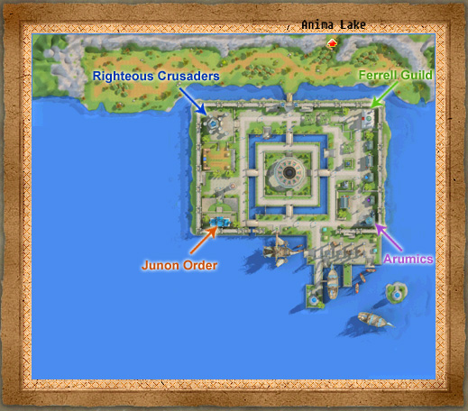 Carte de City of Junon Polis avec les 4 unions : Arumics, Ferrell Guild, Junon Order, Righteous Crusaders