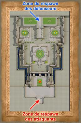 Carte de l'Akram Arena avec les zones de respawn