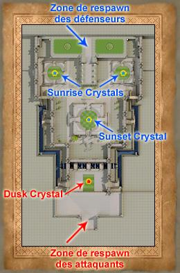 Carte de l'Akram Arena avec les zones de respawn et des cristaux