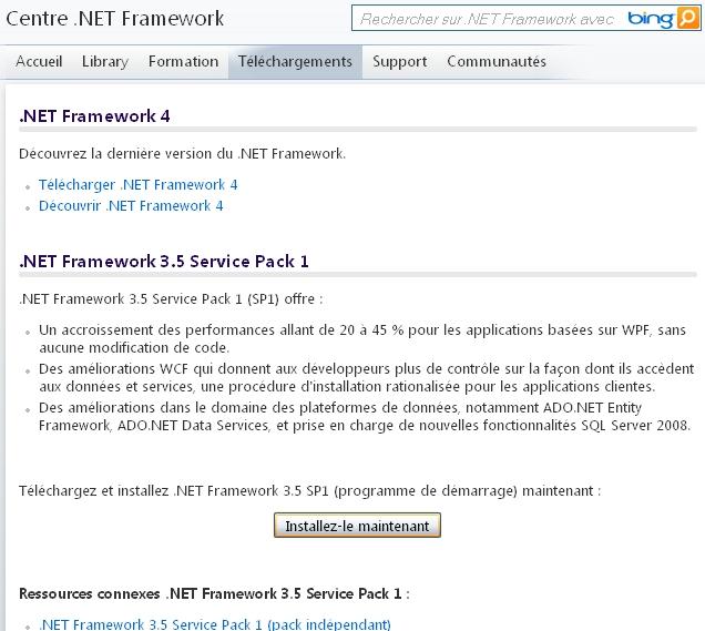 Centre .NET Framework - Téléchargez et installez .NET Framework 3.5 SP1 (programme de démarrage) maintenant : Installez-le maintenant