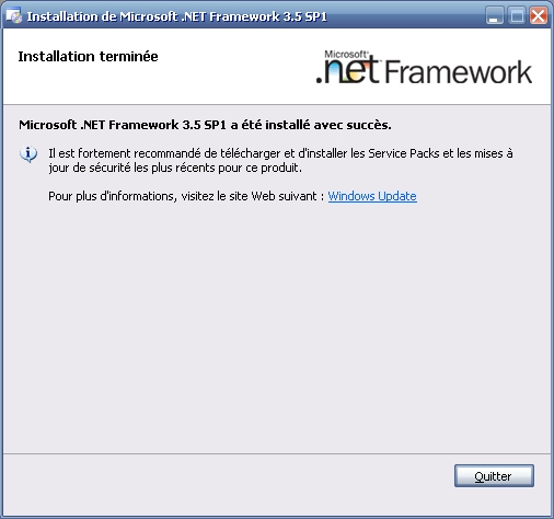 Installation terminée - Microsoft .NET Framework 3.5 SP1 a été installé avec succès.
