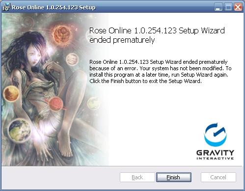 Rose Online xxxxxxx Setup Wizard ended prematurely because of an error.