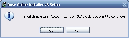 This will disable User Account Controls (UAC), do you wish to continue?